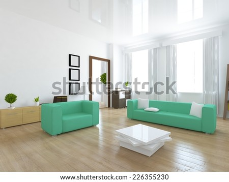 3D rendering of a living room in the modern flat - stock photo