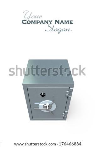 3D rendering of a locked  safe deposit box - stock photo