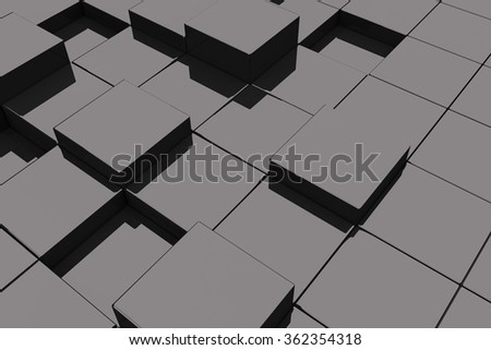 3d rendering of a lot of black glassy cubes - stock photo