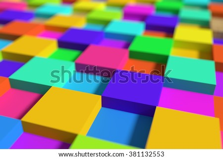 3d rendering of a lot of colorful cubes.