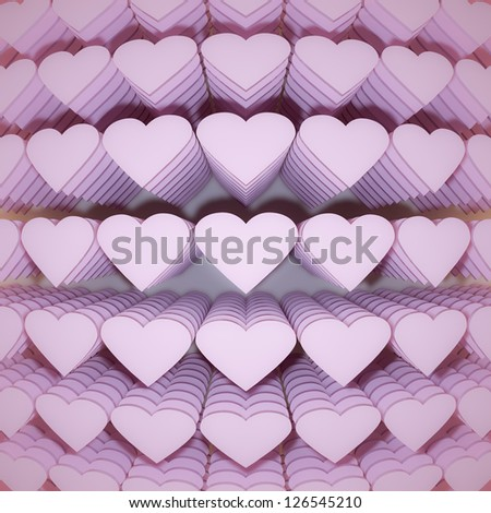3d rendering of a lot of hearts - stock photo