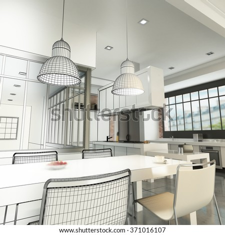 3D rendering of a luxurious industrial style loft showing wireframe