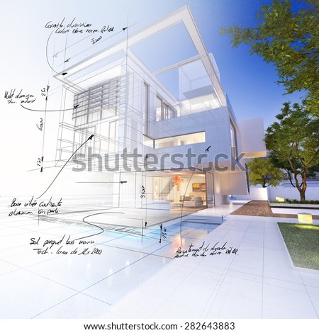 3D rendering of a luxurious villa contrasting with a technical draft part. with scribbled notes indicating construction materials: aluminum, stone, and mesurements