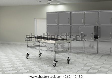 3d rendering of a macabre autopsy room - stock photo