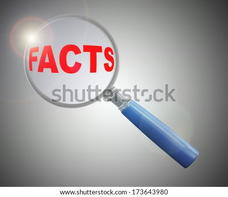 3d rendering of a magnifying glass hovering and focus over word facts.