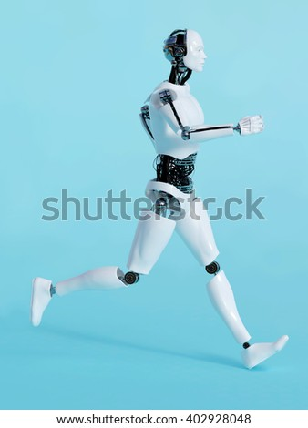3D rendering of a male robot running, image 2. Blue background.
