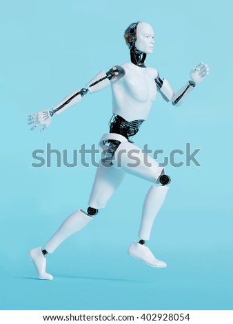 3D rendering of a male robot running, image 1. Blue background.