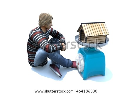 3d rendering of a man siting in front of a small home kept on weighing machine concept idea