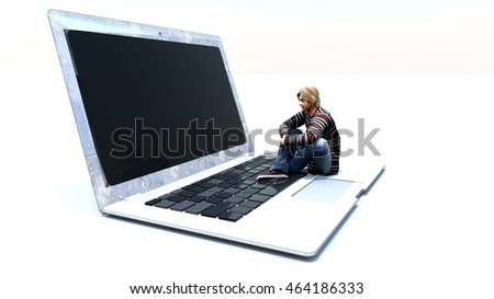 3d rendering of a man siting in front of laptop