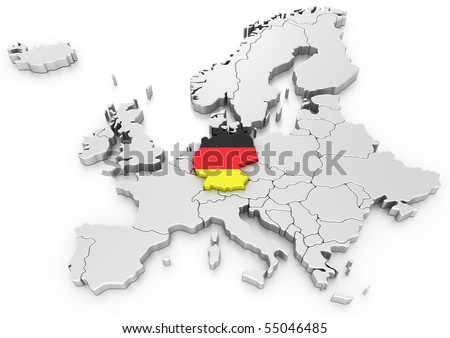 3d rendering of a map of europe with germany selected