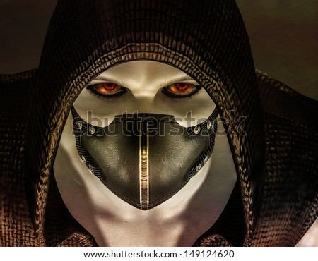 3d rendering of a masked man as illustration - stock photo