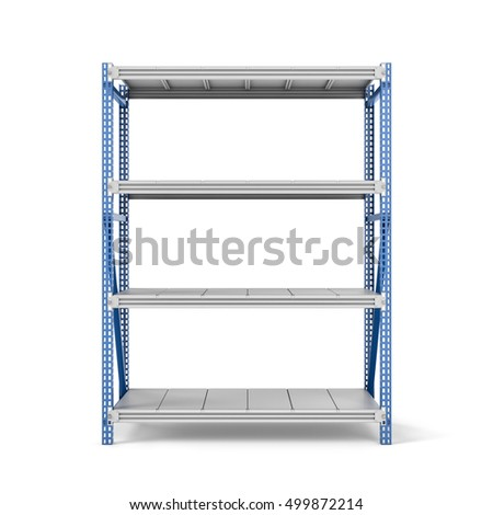 3d rendering of a metal rack with four shelves isolated on a white background