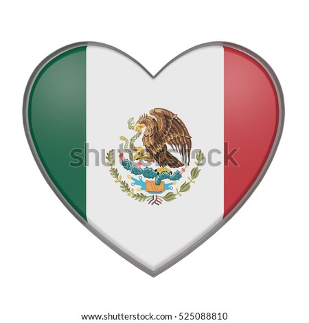 3d rendering of a Mexico flag on a heart. White background