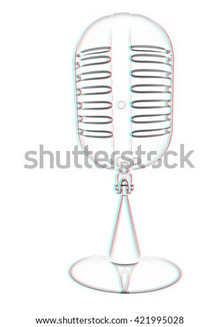 3d rendering of a microphone. Pencil drawing. 3D illustration. Anaglyph. View with red/cyan glasses to see in 3D. - stock photo