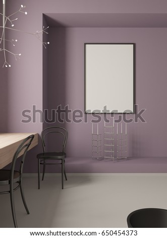 3d Rendering of a minimalistic purple interior with chairs and a blank frame. Mock up.