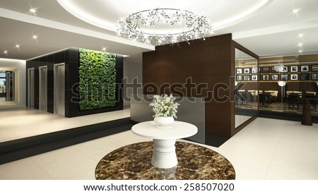 3D rendering of a modern hotel lobby - stock photo
