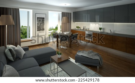 3D rendering of a modern living room with open kitchen