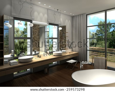 3D rendering of a modern luxurious bathroom - stock photo