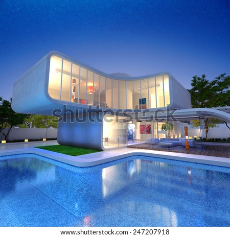 3D rendering of a Modern luxurious designers house with pool  - stock photo