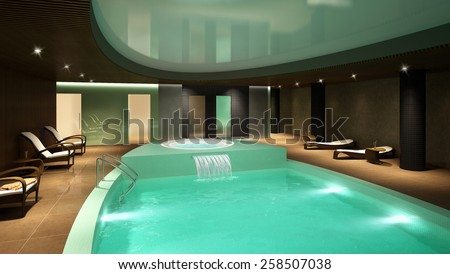 3D rendering of a modern spa interior