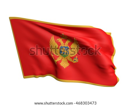 3d rendering of a Montenegro flag waving