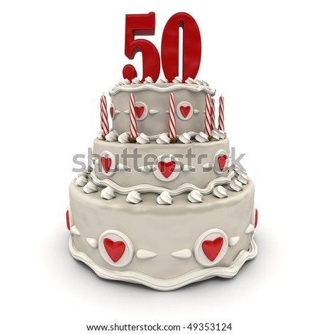 3D rendering of a multi-tiered cake with a number fiftyon top