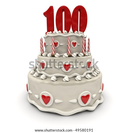 3D rendering of a multi-tiered cake with a number hundred on top - stock photo