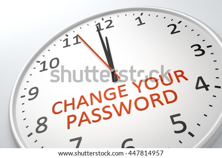3D rendering of a nice clock with text change your password