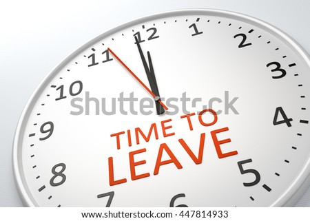 3D rendering of a nice clock with text time to leave