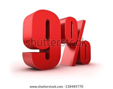 3D Rendering of a nine percent symbol - stock photo