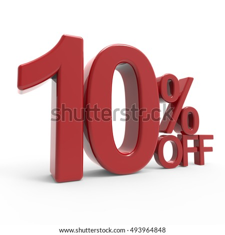 3d rendering of a 10% off symbol, isolated on white background, left leaning