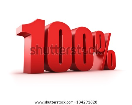 3D Rendering of a one hundered percent symbol - stock photo