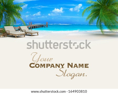 3D rendering of a pair of lounge chairs by a jetty on a tropical idyllic beach - stock photo