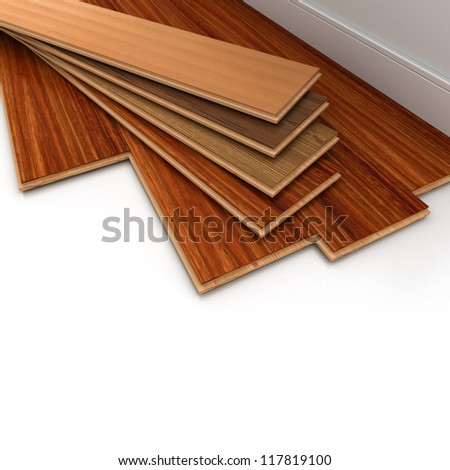 3D rendering of a parquet floor installation - stock photo