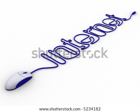3d rendering of a pc mouse cable creating internet.A clipping path is included for easy editing. - stock photo
