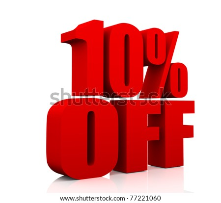 3D rendering of a 10 per cent in red letters on a white background - stock photo