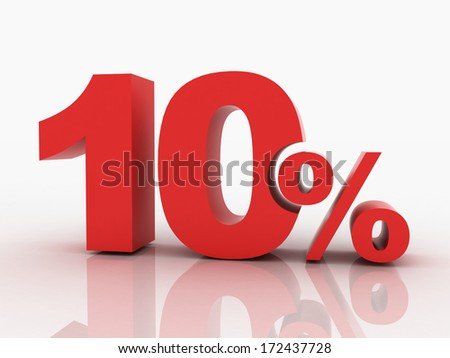 3d rendering of a 10 percent discount in red letters on a white background