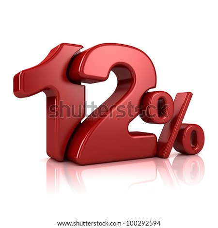 3D rendering of a 12 percent in red letters on a white background - stock photo