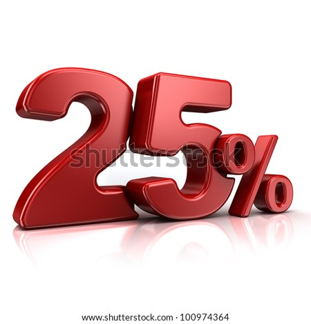 3D rendering of a 25 percent in red letters on a white background - stock photo