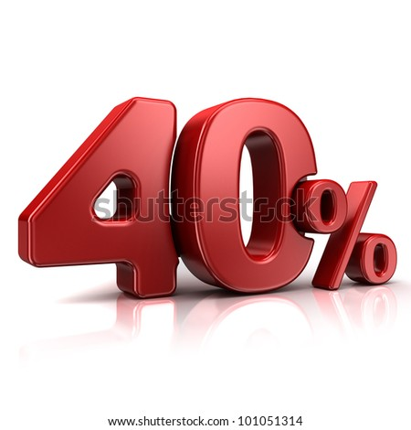 3D rendering of a 40 percent in red letters on a white background - stock photo