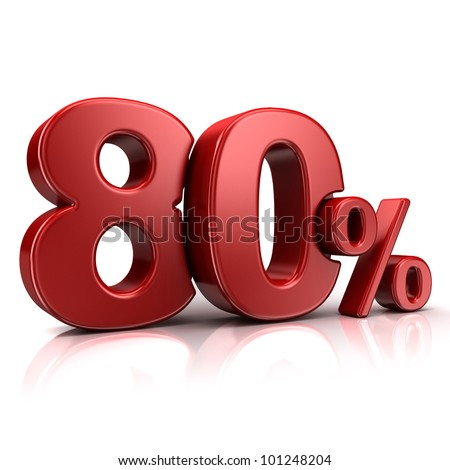 3D rendering of a 80 percent in red letters on a white background - stock photo