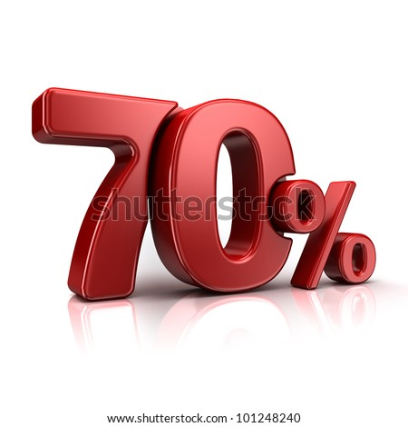 3D rendering of a 70 percent in red letters on a white background - stock photo