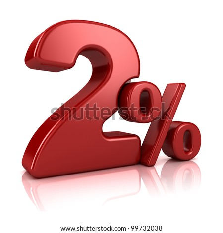 3D rendering of a 2 percent in red letters on a white background