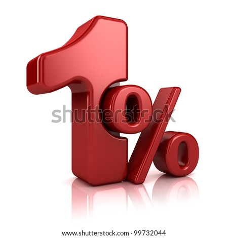 3D rendering of a 1 percent in red letters on a white background
