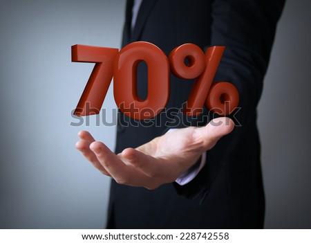 3d rendering of a percent 70 symbol - stock photo