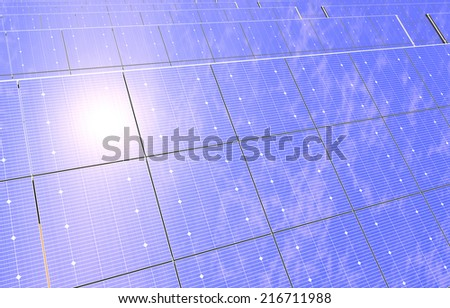 3D rendering of a photovoltaic solar panel farm reflecting the sky and sun in the desert.  - stock photo