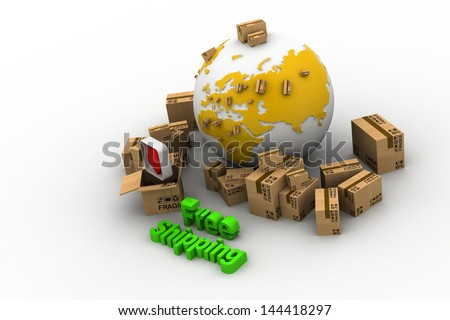 3D rendering of a pile of cartons with a world map connected Free shipping