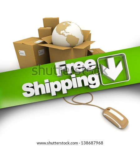 3D rendering of a pile of cartons with a world map connected to a computer mouse with a banner stating Free shipping - stock photo