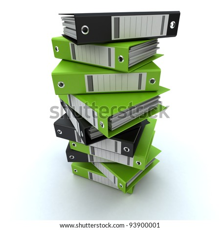 3D rendering of a pile of office ring binders - stock photo