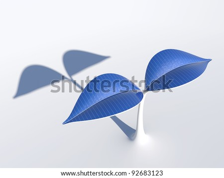 3D rendering of a plant which has solar panels on its leaves. - stock photo